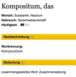 Vom Aussterben bedroht: Das Kompositum. | Bildquelle: http://www.duden.de/rechtschreibung/Kompositum